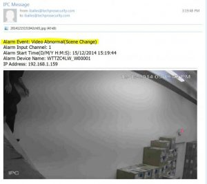 هشدار Snapshot ایمیل شده به دلیل دوربین IP که متوجه تغییرات صحنه شده است