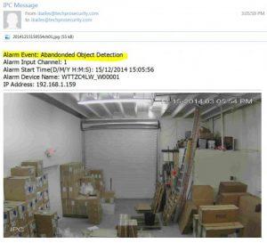 اخطار Snapshot ایمیل شده به دلیل آنکه دوربین شبکه متوجه یک شیء رها شده است